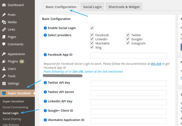 Super Socializer Social Login Basic Configuration